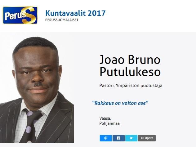 Чернокожий пастор изФинляндии пойдёт навыборы отправой партии «Истинные финны»