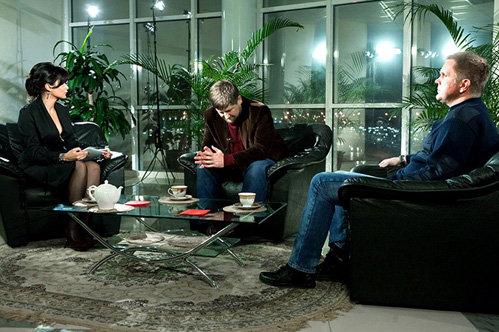 Рамзан КАДЫРОВ, Тина КАНДЕЛАКИ и Андрей КОЛЕСНИКОВ на съёмках программы «Нереальная политика»