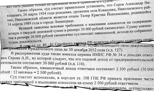 Выписки из решения Хорошевского районного суда г. Москвы по иску Н. ТИЛЕР к А. СЕРОВУ