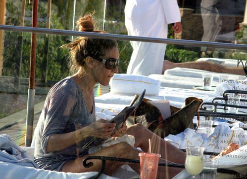 Загорая у бассейна, Сара читала журнал