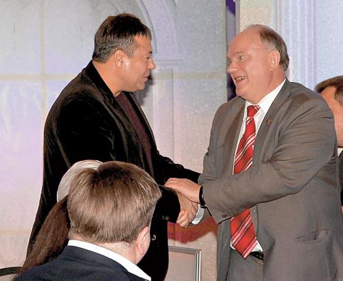 Лидер российских коммунистов тепло поприведствовал авторитетного солнцевского бизнесмена Сергея МИХАЙЛОВА