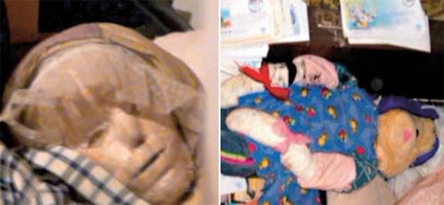 Обряженные в платьица и замотанные в тряпки куклы, найденные в доме...