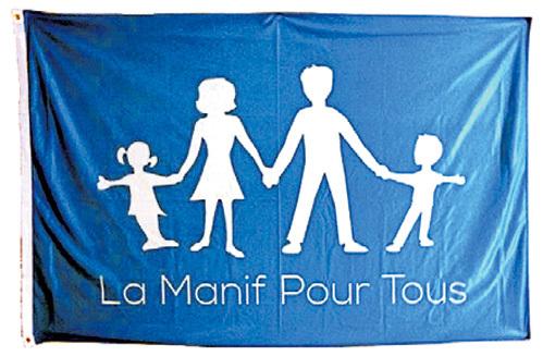 Традиционная семья на флаге участников La Manif Pour Tous - Манифестации для всех