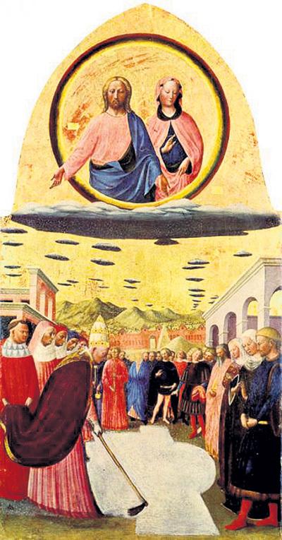 Загадочные диски встречается и на шедеврах Средневековья, например на картине «Снежное чудо» Мазолино да ПАНИКАЛЕ (1383 - 1440). Согласно легенде, после их появления над Римом 5 августа 352 года пошёл снег