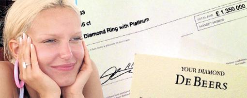 ...подарил ГРИВКОВСКОЙ кольцо за 1 млн. 350 тыс. ф. ст.