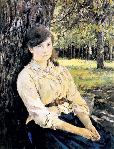 «Девушку, освещённую солнцем», для которой позировала его двоюродная сестра Маша СИМАНОВИЧ, Валентин Александрович ценил выше всех своих работ (1888)