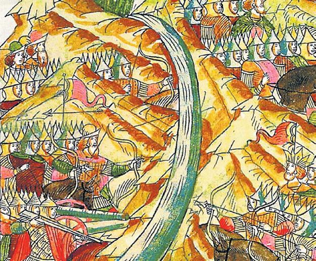 По старинной фреске «Стояние на реке Угре» невозможно определить разницу между русским князем и ордынским ханом. Тем более что князь в шапке, а хан в короне, что вообще-то странно