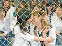 ЯПОНКИ-ФАНАТКИ: целовались за железной сеткой, как в знаменитом клипе
