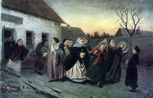 В. Перов. «Накануне девичника. Проводы невесты из бани»