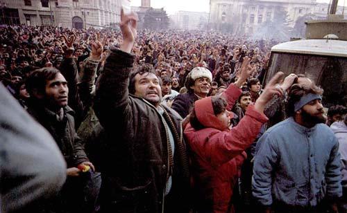 Массовые протесты в Бухаресте, декабрь 1989 года. wikipedia